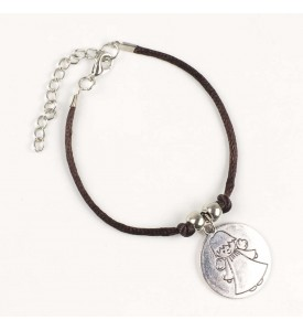 Pulsera marrón medalla Ángel de la Guarda